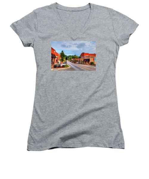 Hometown America Women's V-Neck T-Shirt (Junior Cut) by Dale R Carlson