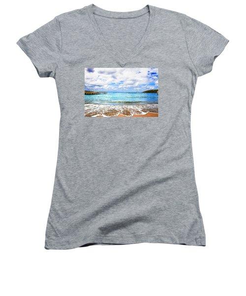 Honduras Beach Women's V-Neck T-Shirt (Junior Cut) by Marlo Horne
