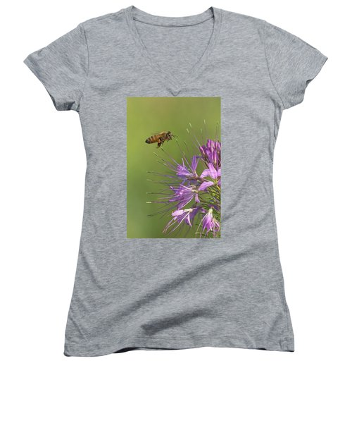 Honey Bee At Work Women's V-Neck (Athletic Fit)
