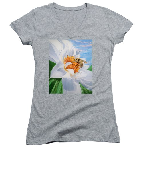 Women's V-Neck T-Shirt (Junior Cut) featuring the painting Honey Bee On White Flower by Sigrid Tune