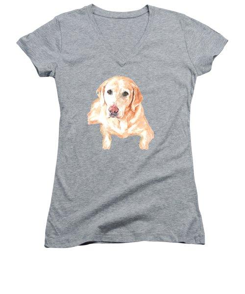 Honey Lab T-shirt Women's V-Neck T-Shirt (Junior Cut) by Herb Strobino