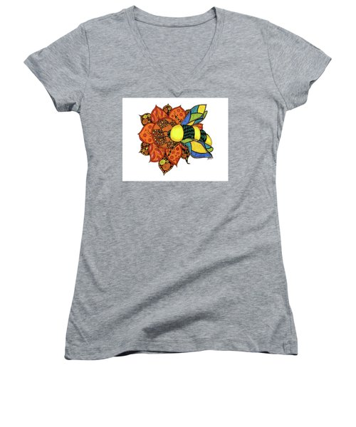 Honeybee On A Flower Women's V-Neck (Athletic Fit)