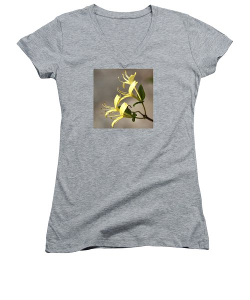 Women's V-Neck T-Shirt (Junior Cut) featuring the photograph Honeysuckle  by Shirley Mitchell