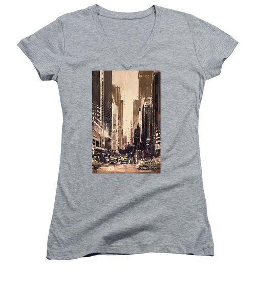 Hong-kong Cityscape Painting Women's V-Neck (Athletic Fit)