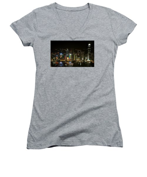 Hong Kong On A December Night Women's V-Neck (Athletic Fit)