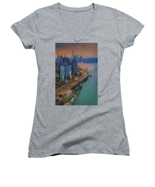 Hong Kong Skyline Painting Women's V-Neck (Athletic Fit)