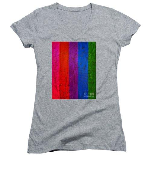 Honor The Rainbow Women's V-Neck T-Shirt (Junior Cut) by Rachel Hannah