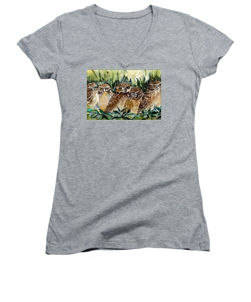 Hoo Is Looking At Me? Women's V-Neck T-Shirt (Junior Cut) by Mindy Newman