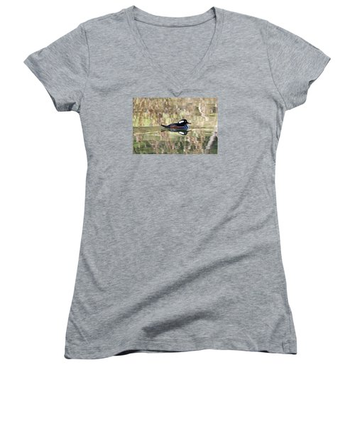Women's V-Neck T-Shirt (Junior Cut) featuring the photograph Hooded Merganser by Elizabeth Budd