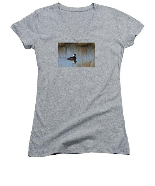 Hooded Merganser In The Early Morning Light Women's V-Neck T-Shirt