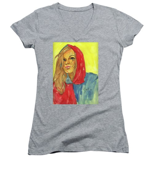 Women's V-Neck T-Shirt (Junior Cut) featuring the painting Hoody by P J Lewis
