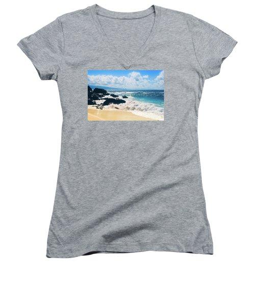Women's V-Neck T-Shirt (Junior Cut) featuring the photograph Hookipa Beach Maui Hawaii by Sharon Mau