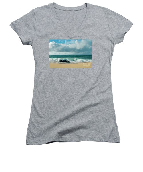 Women's V-Neck T-Shirt featuring the photograph Hookipa Beach Pacific Ocean Waves Maui Hawaii by Sharon Mau
