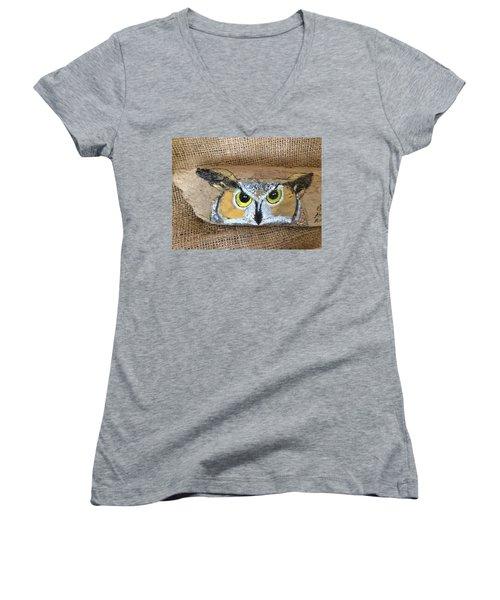 Hoot Owl Women's V-Neck T-Shirt (Junior Cut) by Ann Michelle Swadener