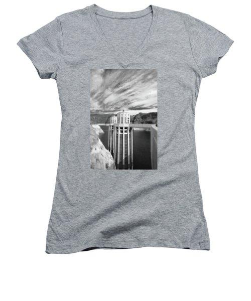 Hoover Dam Intake Towers No. 1-1 Women's V-Neck T-Shirt