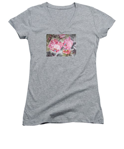 Women's V-Neck T-Shirt (Junior Cut) featuring the painting Hop08012015-693 by Dongling Sun