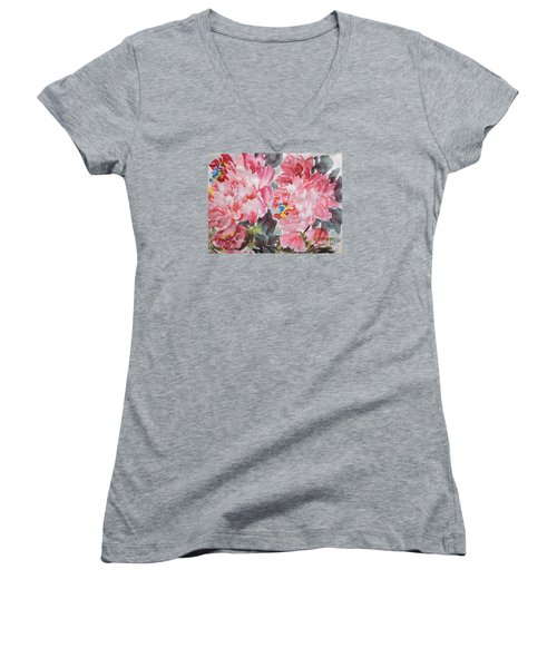 Women's V-Neck T-Shirt (Junior Cut) featuring the painting Hop08012015-694 by Dongling Sun