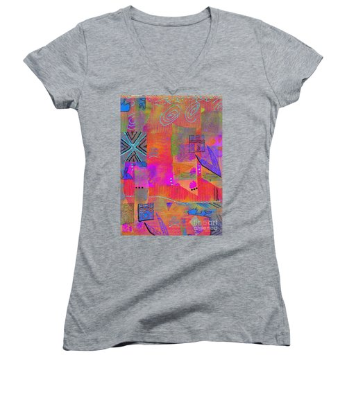 Women's V-Neck T-Shirt (Junior Cut) featuring the mixed media Hope And Dreams by Angela L Walker