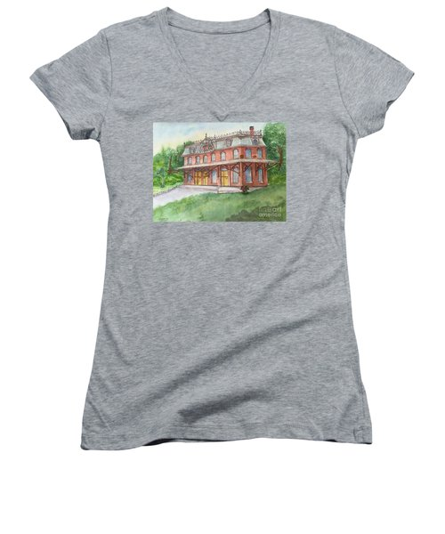 Hopewell Nj Train Station Women's V-Neck T-Shirt (Junior Cut) by Lucia Grilletto