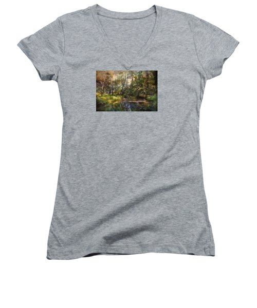 Hopkins Pond, Haddonfield, N.j. Women's V-Neck T-Shirt (Junior Cut) by John Rivera