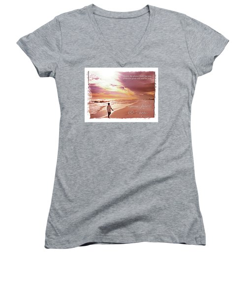 Horizon Of Hope Women's V-Neck T-Shirt (Junior Cut) by Marie Hicks