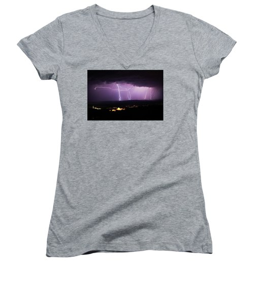 Women's V-Neck T-Shirt (Junior Cut) featuring the photograph Horizontal And Vertical Lightning by Ron Chilston