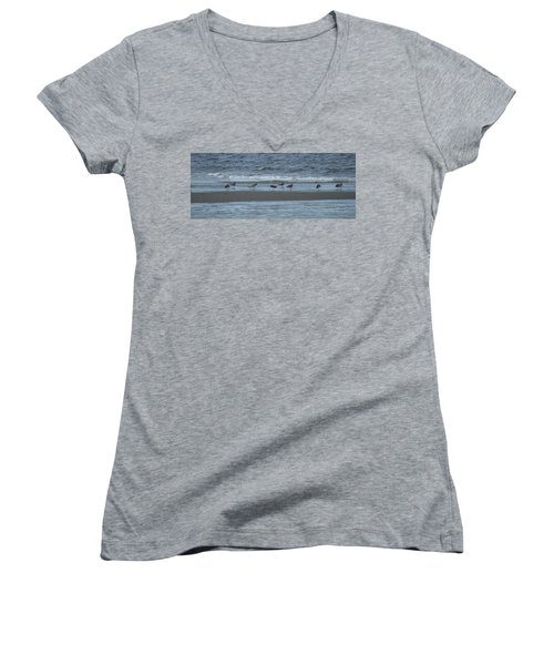 Women's V-Neck T-Shirt (Junior Cut) featuring the photograph Horizontal Shoreline With Birds by Margie Avellino