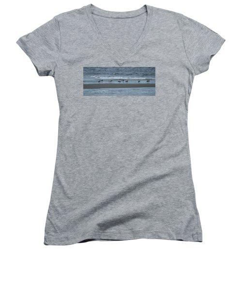 Horizontal Shoreline With Birds Women's V-Neck T-Shirt (Junior Cut)