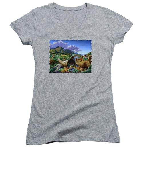 Horn Of Plenty - Cornucopia - Autumn Thanksgiving Harvest Landscape Oil Painting - Food Abundance Women's V-Neck T-Shirt (Junior Cut) by Walt Curlee