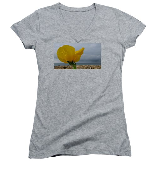 Horned Poppy By The Sea Women's V-Neck (Athletic Fit)