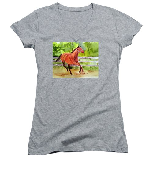Horse #3 Women's V-Neck T-Shirt (Junior Cut) by Larry Hamilton