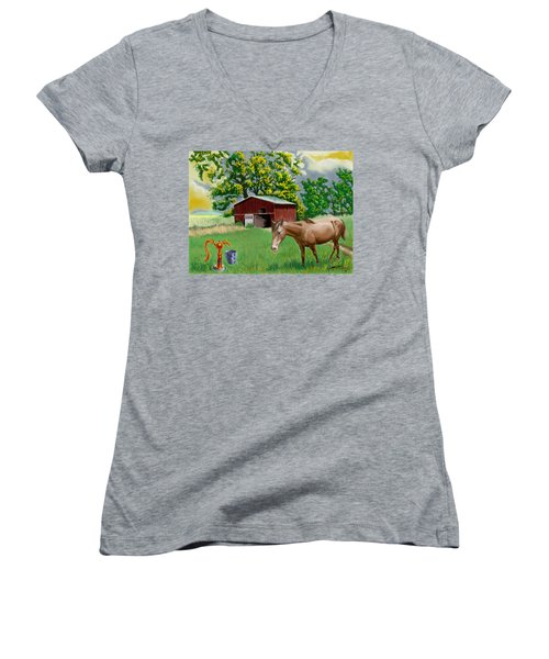 Horse And Barn Women's V-Neck (Athletic Fit)
