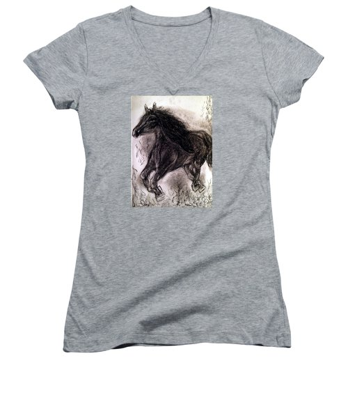 Women's V-Neck T-Shirt (Junior Cut) featuring the painting Horse by Brindha Naveen