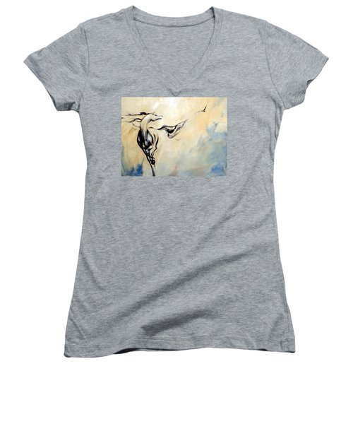 Horse Calling Crow Women's V-Neck T-Shirt (Junior Cut) by Dina Dargo