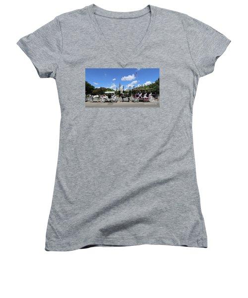 Women's V-Neck T-Shirt (Junior Cut) featuring the photograph Horse Carriages by Steven Spak