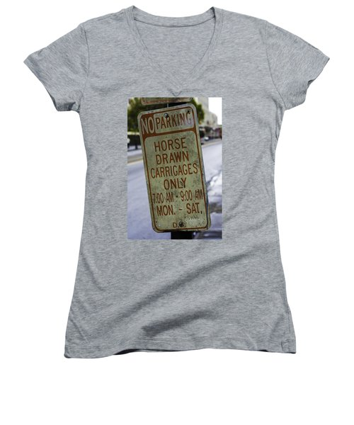 Horse Drawn Carriage Parking Women's V-Neck