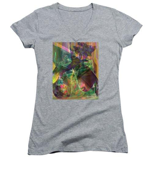 Horse Feathers Women's V-Neck T-Shirt (Junior Cut) by John Robert Beck