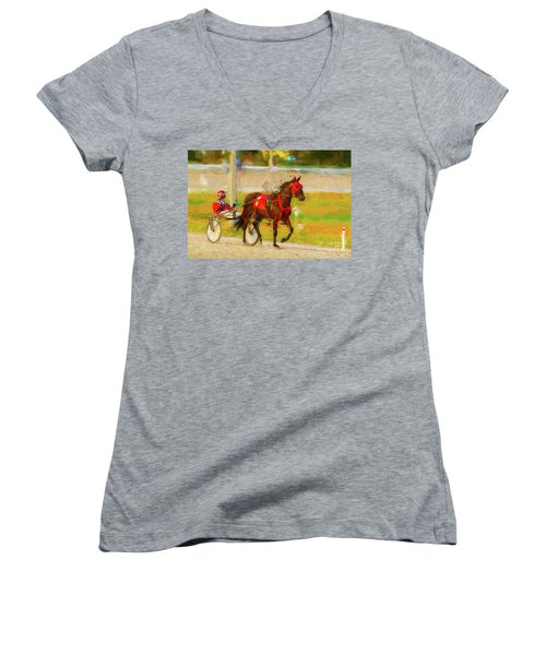 Horse, Harness And Jockey Women's V-Neck T-Shirt (Junior Cut) by Les Palenik