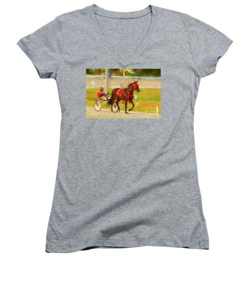 Horse, Harness And Jockey Women's V-Neck T-Shirt