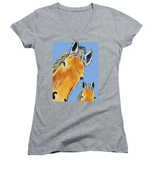 Horse Heads Women's V-Neck (Athletic Fit)