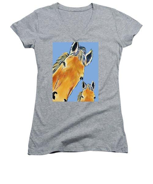 Horse Heads Women's V-Neck T-Shirt