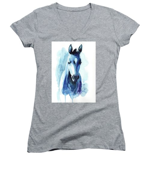 Horse In Blue Women's V-Neck (Athletic Fit)