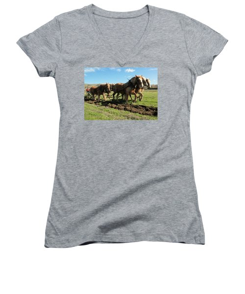Women's V-Neck T-Shirt (Junior Cut) featuring the photograph Horse Power by Jeff Swan