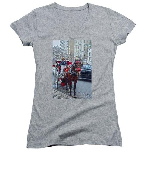 Women's V-Neck T-Shirt (Junior Cut) featuring the photograph Horse Power by Sandy Moulder