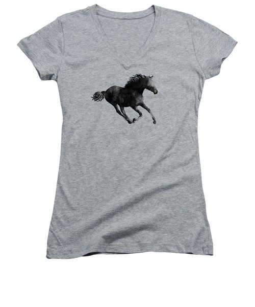 Women's V-Neck T-Shirt (Junior Cut) featuring the painting Horse Running In Black And White by Hailey E Herrera