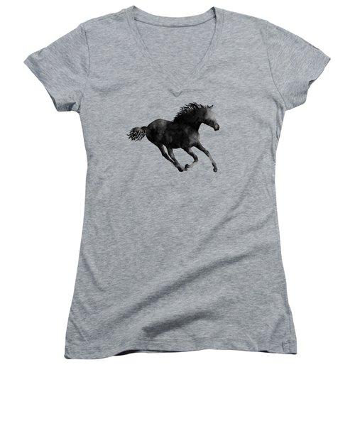 Horse Running In Black And White Women's V-Neck T-Shirt (Junior Cut) by Hailey E Herrera