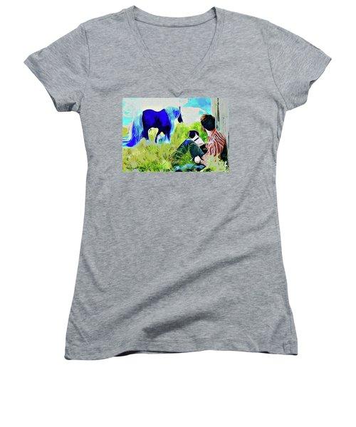 Horse Whisperer Women's V-Neck T-Shirt (Junior Cut) by Ted Azriel