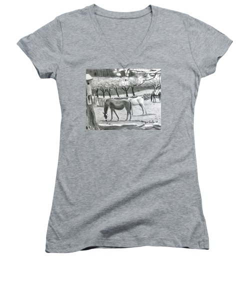 Horses And Trees In Bloom Women's V-Neck