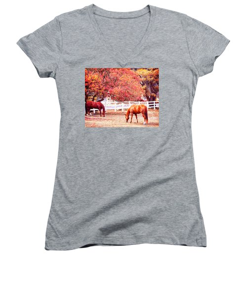 Horses, Grazing Women's V-Neck T-Shirt