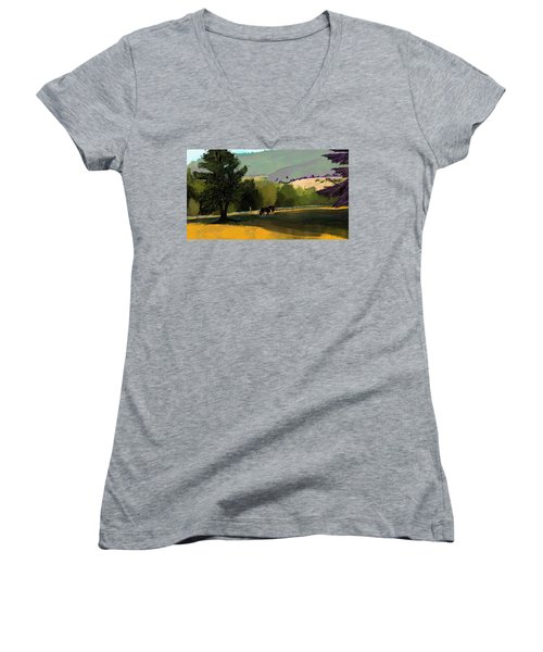 Horses In Field Women's V-Neck (Athletic Fit)